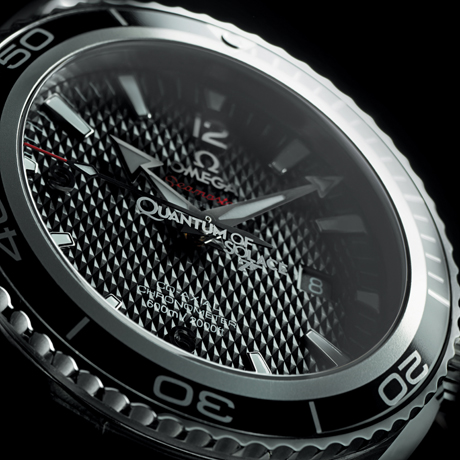 Omega 222.30.46.20.01.001 Planet Ocean licensed James Bond watch, Quantum of Solace logo etched crystal