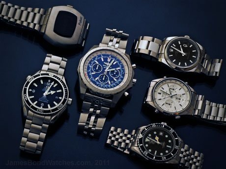 All currently identified James Bond watch brands, most recent models as of December 2011: 460x345